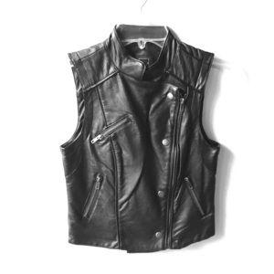 Material Girl Faux Leather Biker Vest